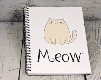 Cute Cat Journal - Blank Journal, spiral journal, notebook, journal notebook, writing journal, sketchbook, diary, cute journals, teen gift