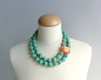 Orange green statement necklace, double strand