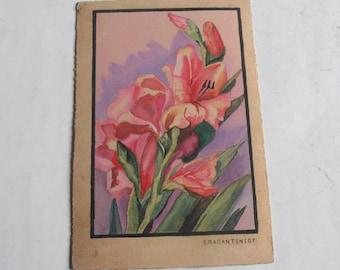 vintage original flower watercolor painting, pink orchids, signed Papantoniou
