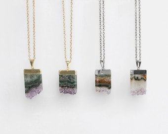 Amethyst Slice Necklace / gold or silver plated amethyst pendant