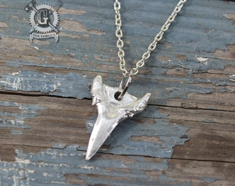 Shark Tooth Pendant Necklace - Hand Cast Artifact Fossil Replica Pendant -  Handmade Pewter Jewelry Creations By Doctorgus - Boho Tribal