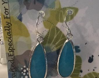 Sterling Sea Blue Jade Long Tear Drop Silver Earrings