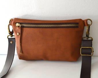 Leather Hip Bag, Genuine Leather Belt Bag, Waist Bag in Cognac Brown Leather