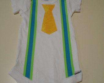 Baby Boy Outfit Bodysuit Onesie Suspenders & Tie Construction Worker Costume