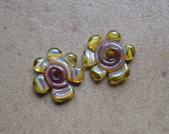 Lampwork Beads - SueBeads - Disc Beads - Disc Flowers - Autumn Toned Cut Disc Flower Bead Pair - Handmade Lampwork Beads - SRA M67