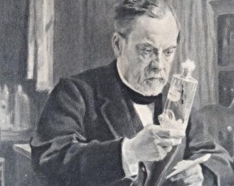 Antique authentique 1886 Louis Pasteur encadré la gravure de la peinture A.Edelfelt
