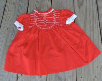 red smocked baby dress vintage 1960s Polly Flinders dress and diaper cover set 3-6 months
