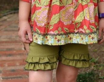 moss green knit double ruffle shorts shorties sizes 18m - 14 girls