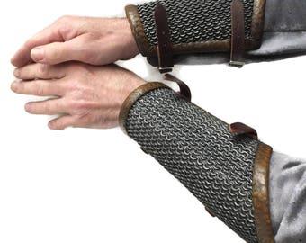 Larp Armor Fantasy Medieval Snagiron Chainmail Wristguards, arm armor, Cosplay armor, Skyrim, Witcher