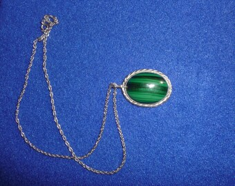 Malachite Necklace, Sterling Silver Necklace, Malachite