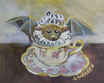 Batty Teacup Original Watercolor and Gouache Painting
