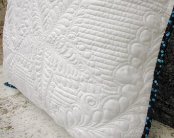 White quilted cushion cover, whole cloth quilted pillow case, white cushion, 45cm cushion, 18 inch cushion