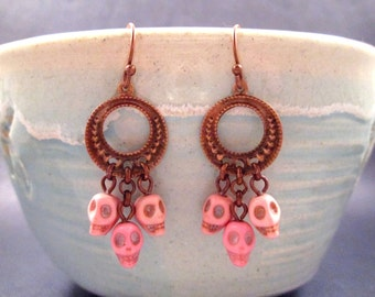 Skull Chandelier Earrings, Pink Howlite and Copper Dangle Earrings, FREE Shipping U.S.
