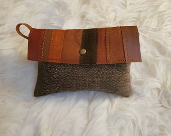 LEATHER and TEXTILE POUCH