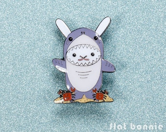 Bunny Shark enamel pin, Cute rabbit jacket pin, Kawaii shark lapel pin badge, Animal jewelry backpack pin, Shark week gift, Flat Bonnie