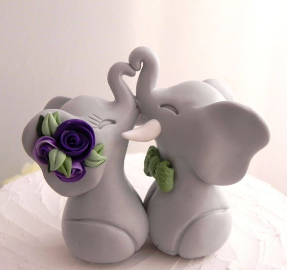 Elephants in Love Wedding Cake Topper: Green, Gray and Shades of Purple, Bride and Groom Keepsake