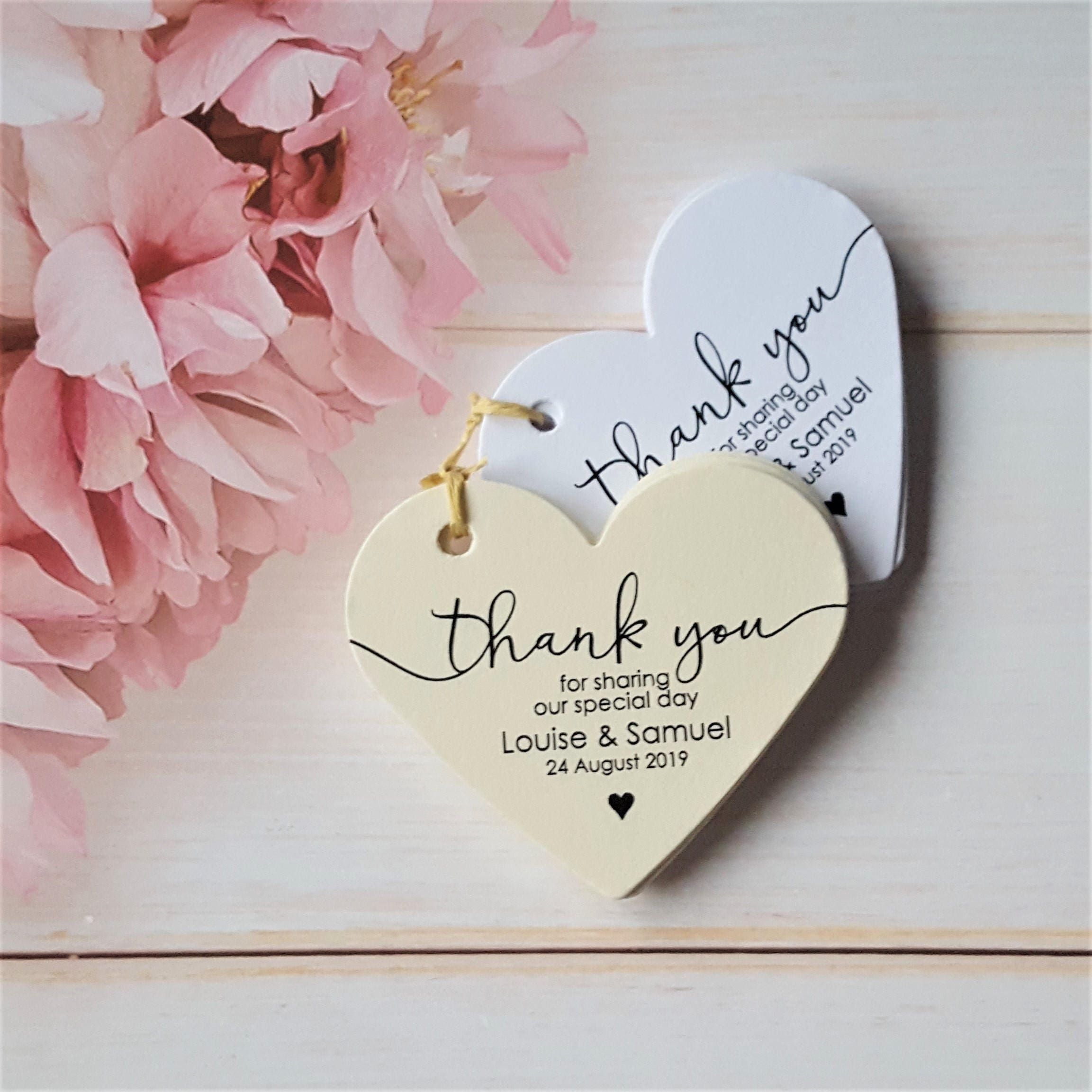 10 Personalised Wedding Favour Tags Thank You Heart Shaped