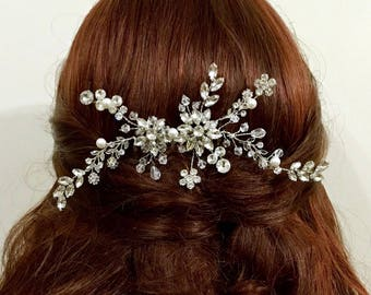 Vines Bridal Hair Jewelry, Flower Headpiece, Crystal Wedding Headpiece, Swarovski Pearl Bridal Hair Comb, Branches Wedding Hair Vine, AYU