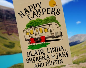 Happy Campers Personalized Travel Trailer Garden Flag, Campsite Flag, RV Gift, RV Camp Sign, Custom Campsite Flag