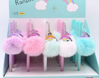 Rainbow Fluffy Fur Ball Gel pen- 1 pc