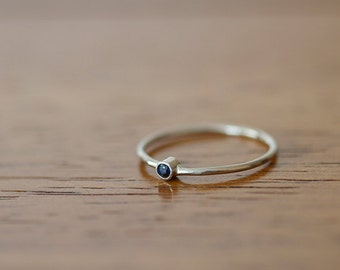14k White Gold Band Set with Round Blue Sapphire (E0599)