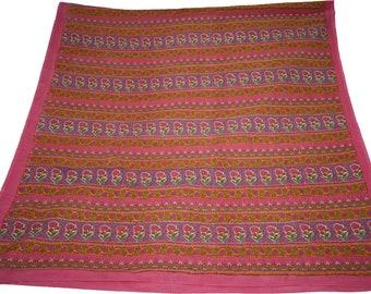 Indian Culture Vintage Dupatta Cotton Pink Floral Scarves Design Fabric Craft Hijab