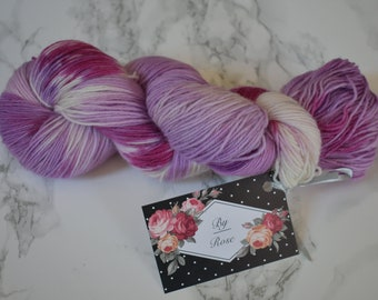 "Skein / ""cream of blackcurrant"" hand dyed wool / Wool and Nylon / sock yarn"