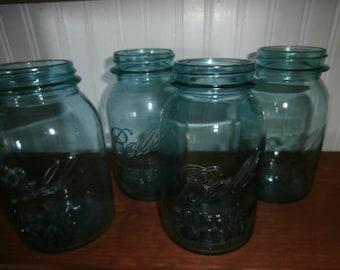 Vintage aqua Blue green canning Ball Perfect Mason quart jars set 4 four