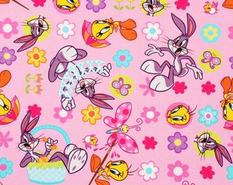 Baby Looney Tunes Tweety Bugs Bunny Oxford Fabric made in Korea by the Half Yard