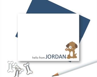Puppy Dog Stationery Set, Personalized Stationery for Kids, Kids Note Cards, Kids Personalized Stationary, Puppy Dog Stationery Note Cards