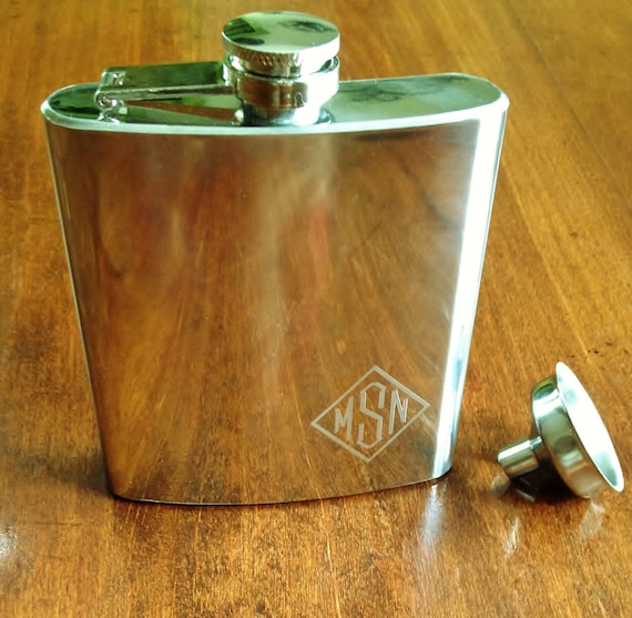 monogram polished pocket flask with funnel personalized