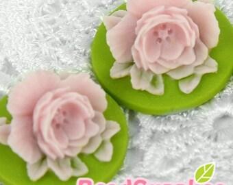 CA-CM-02006 - Green and Lilac Peony Cabochon, 4 pcs