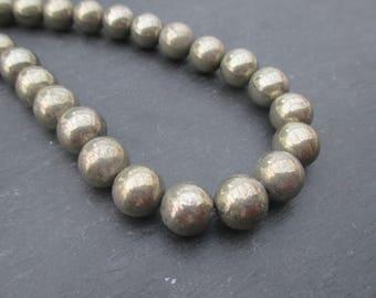 Pyrite: 5 round beads 10 mm