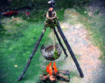 Faery Campfire with Tripod and Cooking Pot, Custom Order, fairy house, fairy garden, Waldorf, natural materials, woodland, miniatures