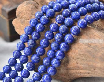 Grade AAA Natural Lapis Lazuli Beads NOT Dyed 4mm-12mm Smooth Polished Round 15 Inch Strand LL10