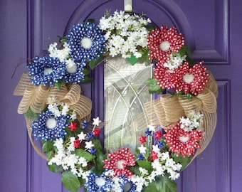Red, White,and Blue  Wreath, Patriotic wreath, Country grapevine wreath, Fourth of July Wreath, Summer Wreath