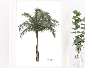 Digital Print | Palm Tree Custom Artwork, Hand-drawn, Hand-painted