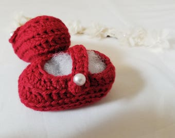 Crochet Baby Mary Janes- Red