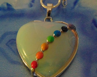 Gorgeous Opal 7 chakra Heart Pendant set in Sterling with 30 inch sterling chain