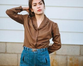 70's - Ruffled - Western - Brown - Vintage Button Up - Vintage Western -