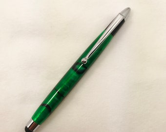 Emerald Green Acrylic and Chrome Stylus #101