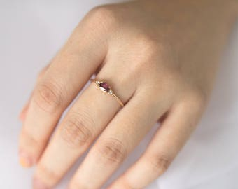 Rhodolite Garnet Diamond Ring, Solid 14K Gold Rhodolite Garnet 3 Stone Ring, Delicate Stacking Ring, Stackable Ring, Anniversary Gift