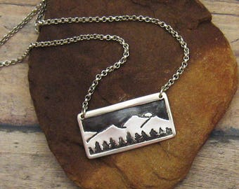Silver Mountain Necklace, Mountain Jewelry, Colorado Jewelry, Mountain and Tree Necklace, Tree Jewelry, Colorado Souvenir, Silver and Black