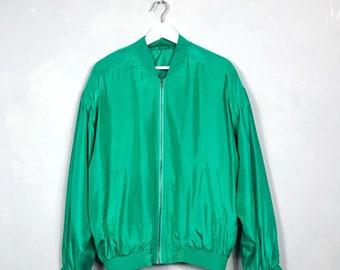 VINTAGE • Silk jacket • M • SILK • BOMBER jacket • Metallic green