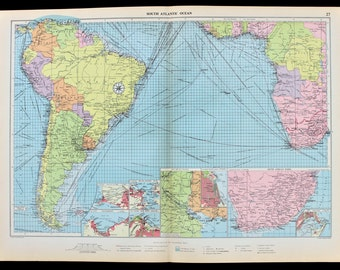 Atlantic ocean map Etsy