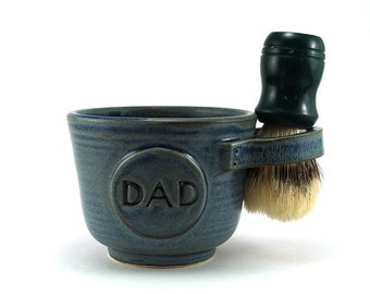 Personalized Blue Shaving Mug for Dads Shave Mug with Dad Brush is Not Included Ready to Ship Fathers Day Gift