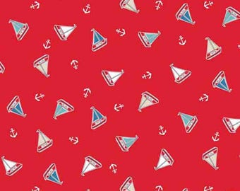 Red Yachts Cotton Fabric by Makower from their Marina Collection, Little Blue and White Yachts on Red Cotton Fabric