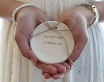 Together forever Wedding ring bearer Ring dish Ring pillow alternative, Ring bearer pillow alternative
