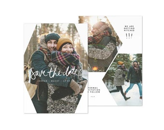 Save the Date Card Design Template Wedding Photo Cards Download