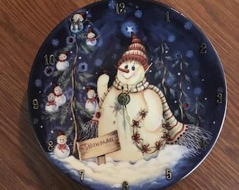 Snowman In The Night 8 Inch Clock !